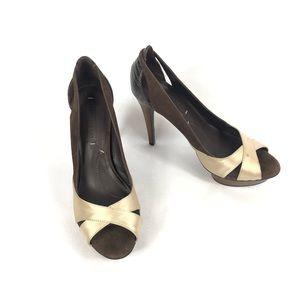 BCBGMAXAZRIA Women's Peep Toe Pump Heels